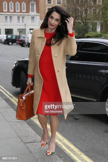 Amal Clooney seen arriving at Chatham House on March 29 2017 in London England