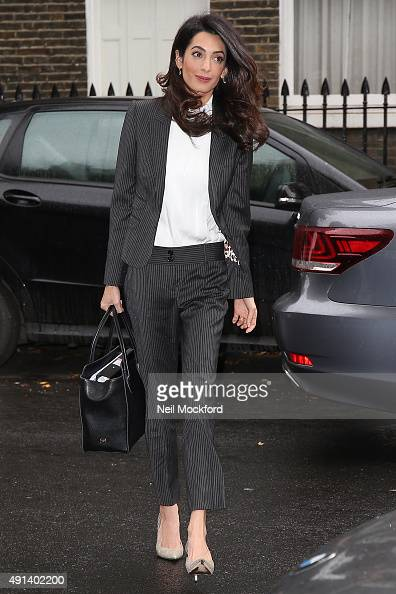 Amal Clooney seen arriving at Doughty Street Chambers on October 5 2015 in London England