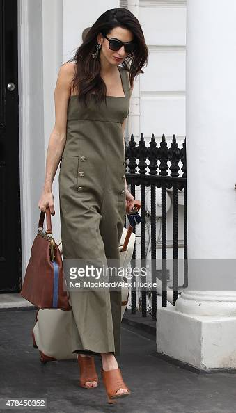 Amal Clooney seen in Notting Hill beofre heading to the airport on June 25 2015 in London England