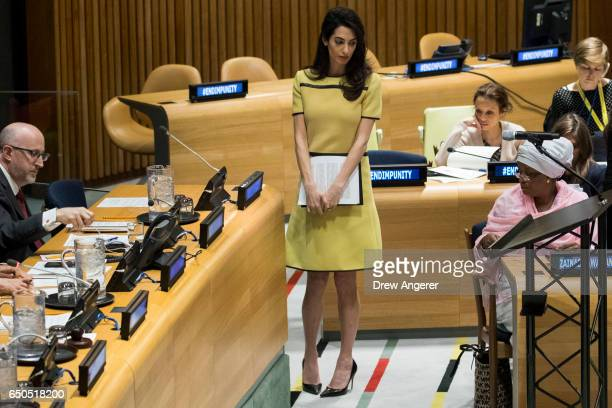 Amal Clooney waits to deliver remarks during an event titled 'The Fight against Impunity for Atrocities Bringing Da'esh to Justice' at the United...