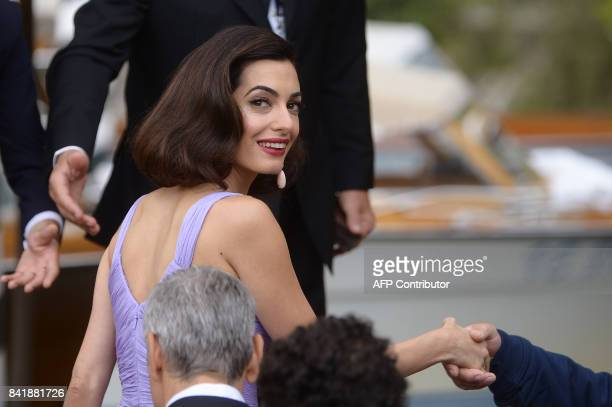 Amal George Clooney arrives at the Excelsior Hotel during the 74th Venice Film Festival on September 2 2017 at Venice Lido / AFP PHOTO / Filippo...