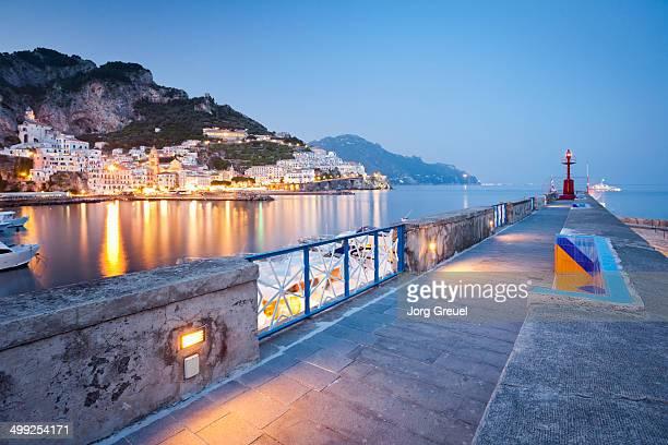 Amalfi breakwater at dusk