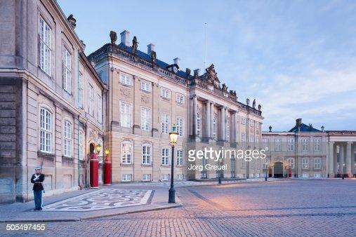 Amalienborg Palace (Schack's Palace) at dusk