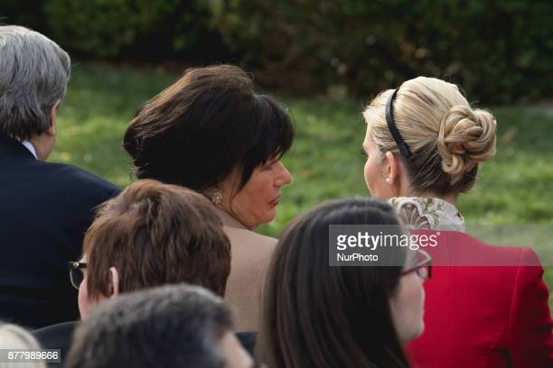 Amalija Knavs mother of First Lady Melania Trump and Ivanka Trump daughter and assistant to US President Donald Trump speak before the National...