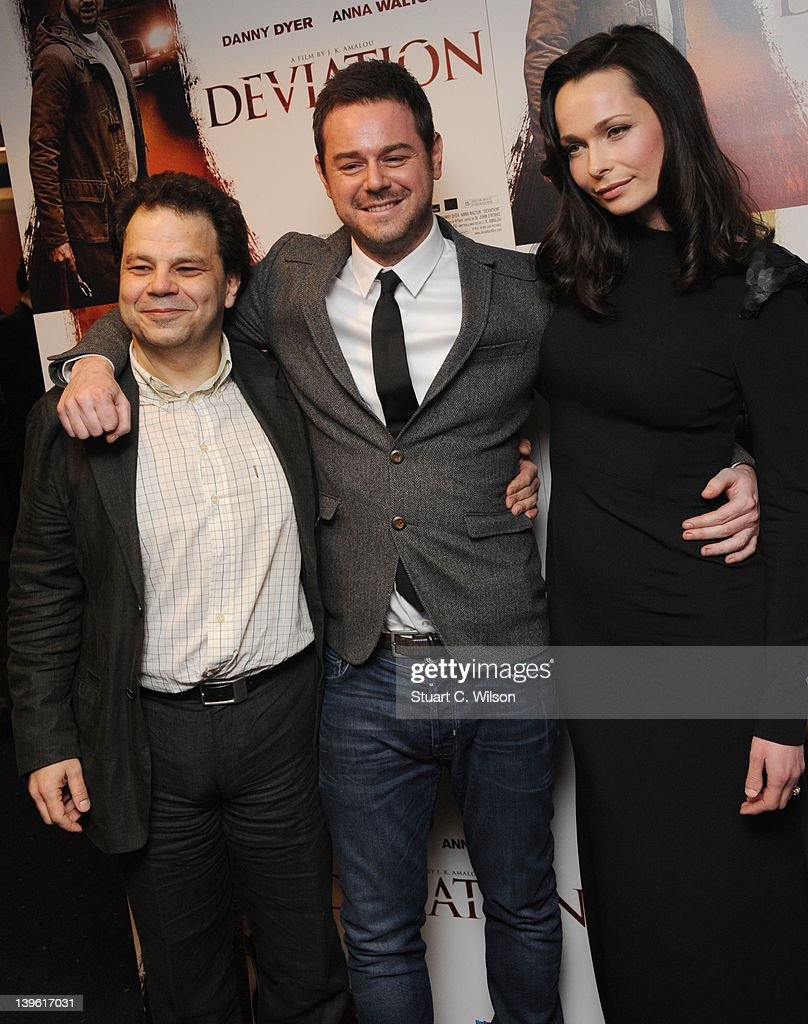 JK Amalou, <a gi-track='captionPersonalityLinkClicked' href=/galleries/search?phrase=Danny+Dyer+-+Actor&family=editorial&specificpeople=15358895 ng-click='$event.stopPropagation()'>Danny Dyer</a> and Anna Walton attend the Deviation World Premiere at Odeon Covent Garden on February 23, 2012 in London, England.
