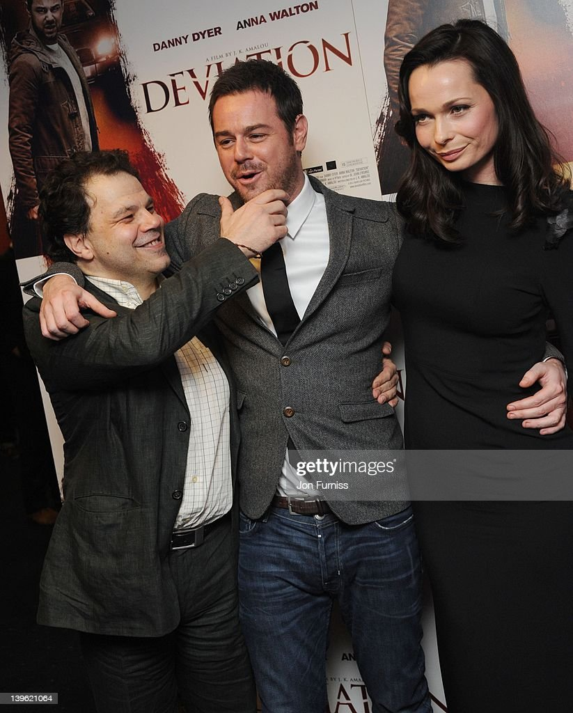 J K Amalou, Danny Dyer and Anna Walton attend the world premiere of 'Deviation' at Odeon Covent Garden on February 23, 2012 in London, England.