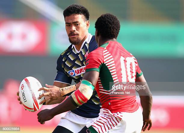 Amanaki Lotoahea of Japan in action afainst Kenya during the Emirates Dubai Rugby Sevens HSBC World Rugby Sevens Series Bowl Quater Final at The...