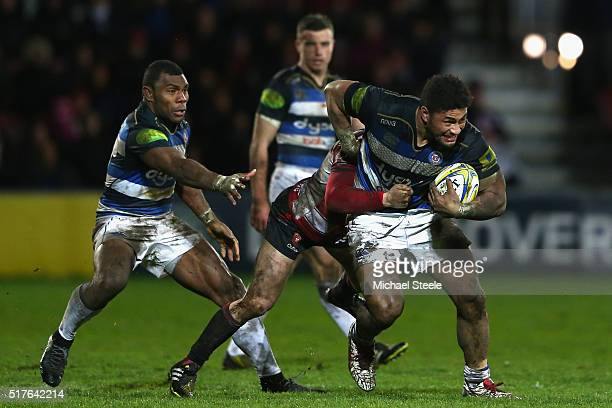 Amanaki Mafi of Bath on the charge during the Aviva Premiership match between Gloucester and Bath at Kingsholm on March 26 2016 in Gloucester England
