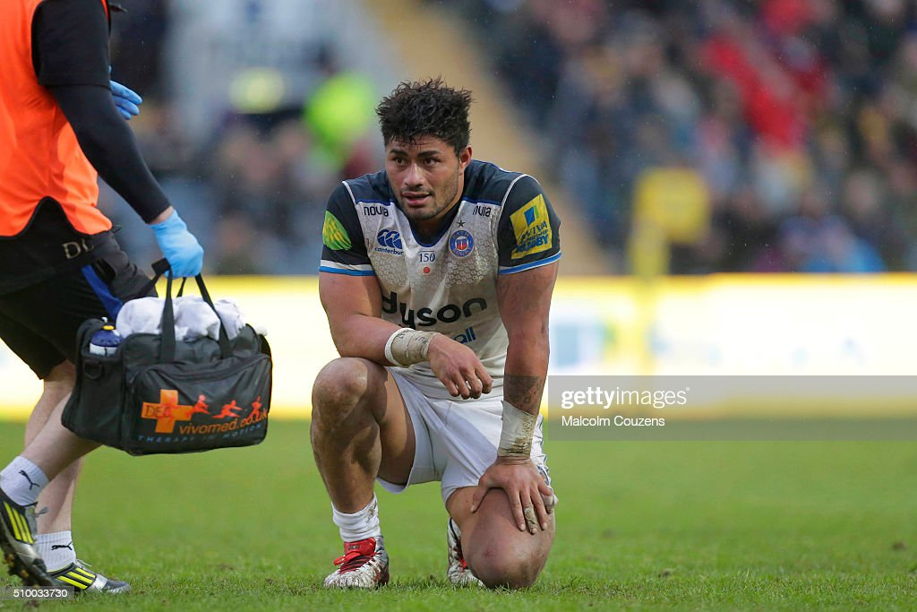 <a gi-track='captionPersonalityLinkClicked' href=/galleries/search?phrase=Amanaki+Mafi&family=editorial&specificpeople=15024452 ng-click='$event.stopPropagation()'>Amanaki Mafi</a> of Bath Rugby during the Aviva Premiership match between Worcester Warriors and Bath Rugby at Sixways Stadium on February 13, in Worcester, England
