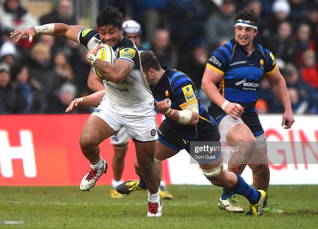<a gi-track='captionPersonalityLinkClicked' href=/galleries/search?phrase=Amanaki+Mafi&family=editorial&specificpeople=15024452 ng-click='$event.stopPropagation()'>Amanaki Mafi</a> of Bath Rugby is tackled during the Aviva Premiership match between Worcester Warriors and Bath Rugby at Sixways Stadium on February 13, 2016 in Worcester, England. (Photo by Tom Dulat/Getty Images).