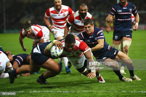Amanaki Mafi of Japan goes over to score their third try during the 2015 Rugby World Cup Pool B match between USA and Japan at Kingsholm Stadium on...
