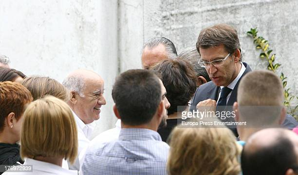 Amancio Ortega and Alberto Nunez Feijoo attend the funeral for Rosalia Mera richest Spanish woman and Amancio Ortega's ex wife and one of Zara...