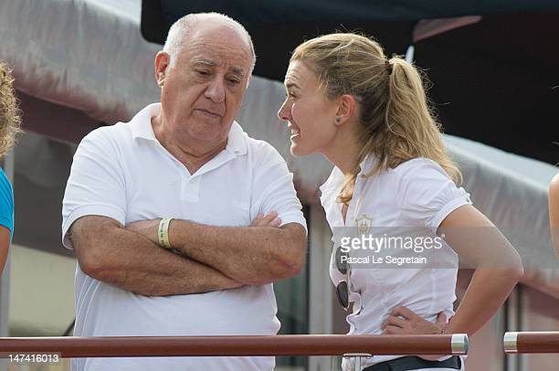 Amancio Ortega and Marta Ortega Perez attend the Monaco International Jumping as part of Global Champion Tour on June 29 2012 in MonteCarlo Monaco