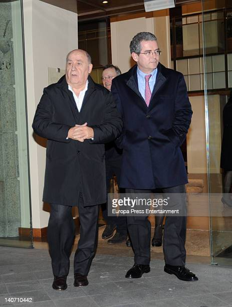 Amancio Ortega and Pablo Isla CEO if Inditex are seen the day before Amancio's daughter Marta get married on February 16 2012 in A Coruna Spain