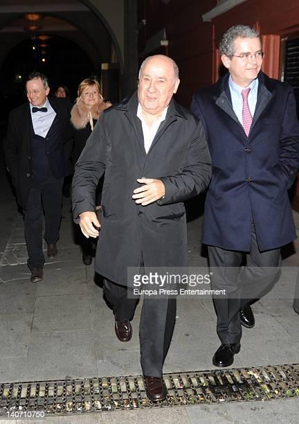 Amancio Ortega and Pablo Isla Inditex CEO are seen the day before Amancio's daughter Marta get married on February 16 2012 in A Coruna Spain
