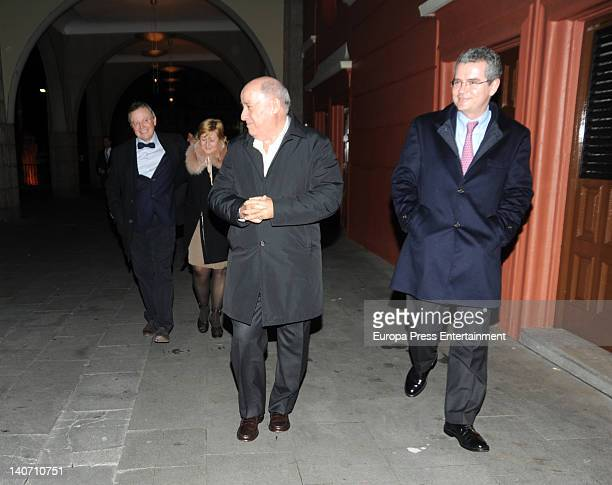 Amancio Ortega and Pablo Isla Inditex CEO are seen the day before Amancio's daughter Marta get married on February 16 2012 in A Coruna Spain