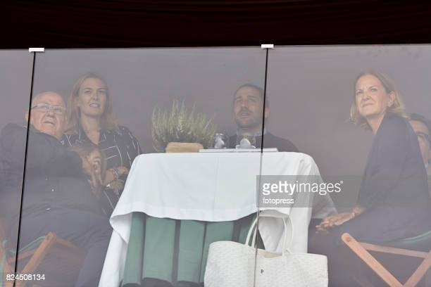 Amancio Ortega Marta Ortega Carlos Torretta and Flora Perez attend during CSI Casas Novas Horse Jumping Competition on July 30 2017 in A Coruna Spain