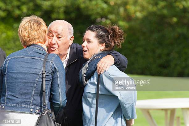 Amancio Ortega owner of Zara empire meets some friends at CSI Casas Novas Horse Jumping Competition 2013 near Arteixo on July 27 2013 in A Coruna...