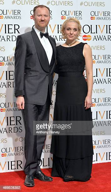Amanda Abbington and Mark Gatiss in the winners room at The Olivier Awards at The Royal Opera House on April 12 2015 in London England