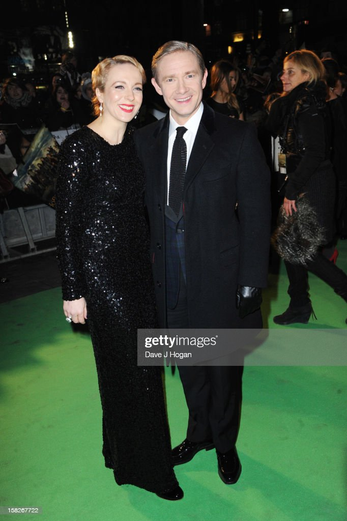 Amanda Abbington and <a gi-track='captionPersonalityLinkClicked' href=/galleries/search?phrase=Martin+Freeman&family=editorial&specificpeople=214753 ng-click='$event.stopPropagation()'>Martin Freeman</a> attend a royal film performance of 'The Hobbit: An Unexpected Journey' at The Empire Leicester Square on December 12, 2012 in London, England.