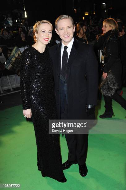 Amanda Abbington and Martin Freeman attend a royal film performance of 'The Hobbit An Unexpected Journey' at The Empire Leicester Square on December...