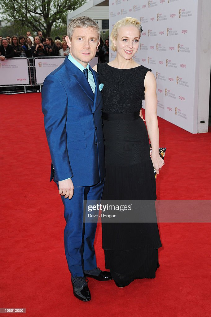 Amanda Abbington and <a gi-track='captionPersonalityLinkClicked' href=/galleries/search?phrase=Martin+Freeman&family=editorial&specificpeople=214753 ng-click='$event.stopPropagation()'>Martin Freeman</a> attend the BAFTA TV Awards 2013 at The Royal Festival Hall on May 12, 2013 in London, England.