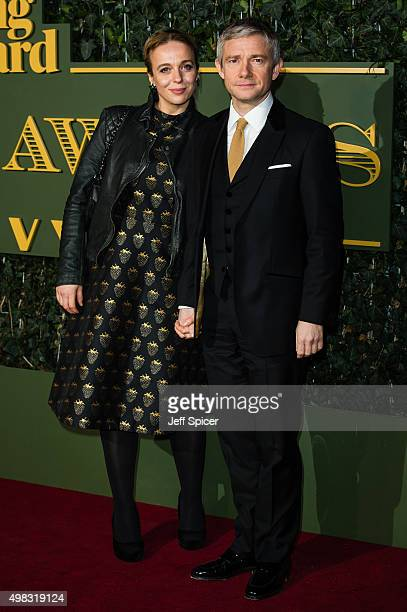 Amanda Abbington and Martin Freeman attend the Evening Standard Theatre Awards at The Old Vic Theatre on November 22 2015 in London England