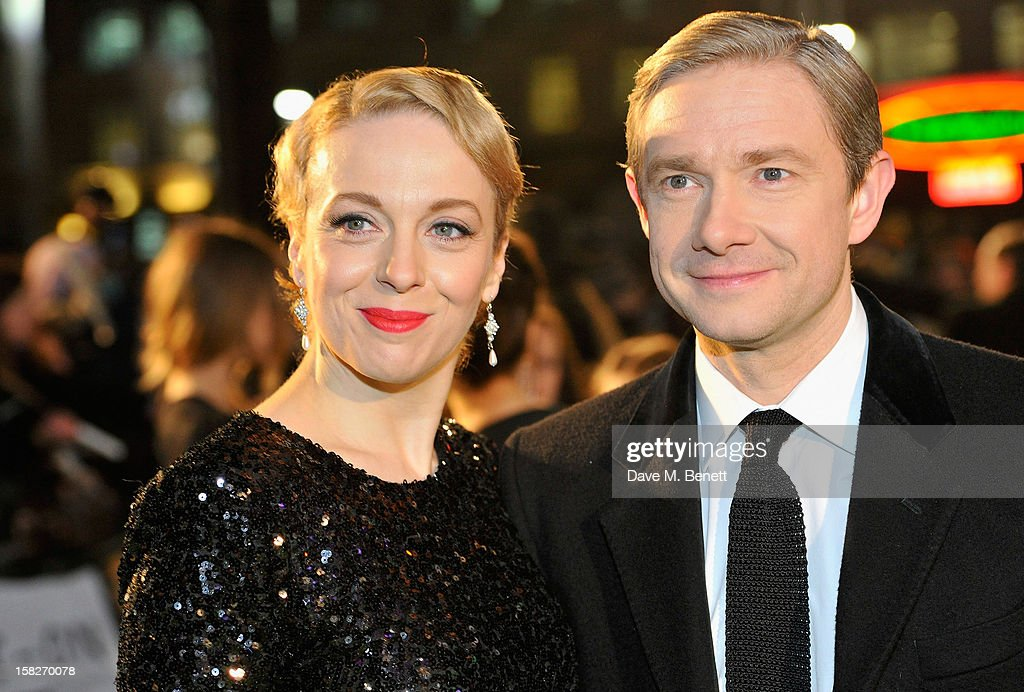 Amanda Abington and <a gi-track='captionPersonalityLinkClicked' href=/galleries/search?phrase=Martin+Freeman&family=editorial&specificpeople=214753 ng-click='$event.stopPropagation()'>Martin Freeman</a> attends the Royal Film Performance of 'The Hobbit: An Unexpected Journey' at Odeon Leicester Square on December 12, 2012 in London, England.
