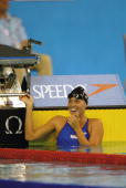Amanda Beard of the USA smiles after after winning the Women's 200m Breaststroke Final and equaling the world record during the 10th Fina World...