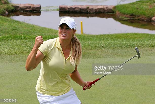 Amanda Blumenherst reacts after making her birdie putt on the 18th hole to extend her match during the third round of the Sybase Match Play...