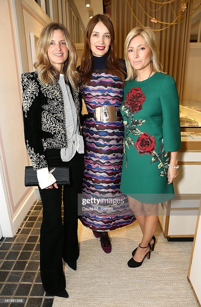 Amanda Brooks, Roksanda Ilincic and Princess Marie-Chantal of Greece attend the Moda Operandi Holiday dinner hosted by Lauren Santo Domingo on November 17, 2015 in London, England.