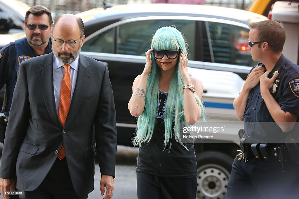 <a gi-track='captionPersonalityLinkClicked' href=/galleries/search?phrase=Amanda+Bynes&family=editorial&specificpeople=201660 ng-click='$event.stopPropagation()'>Amanda Bynes</a> attends an appearance at Manhattan Criminal Court on July 9, 2013 in New York City. Bynes is facing charges of reckless endangerment, tampering with evidence and criminal possession of marijuana in relation to her arrest on May 23, 2013.