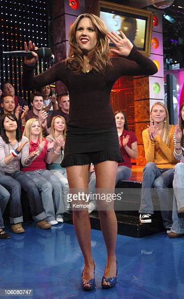 Amanda Bynes during Amanda Bynes Hulk Hogan and James Blunt Visit MTV's 'TRL' March 15 2006 at MTV Studios in New York City New York United States