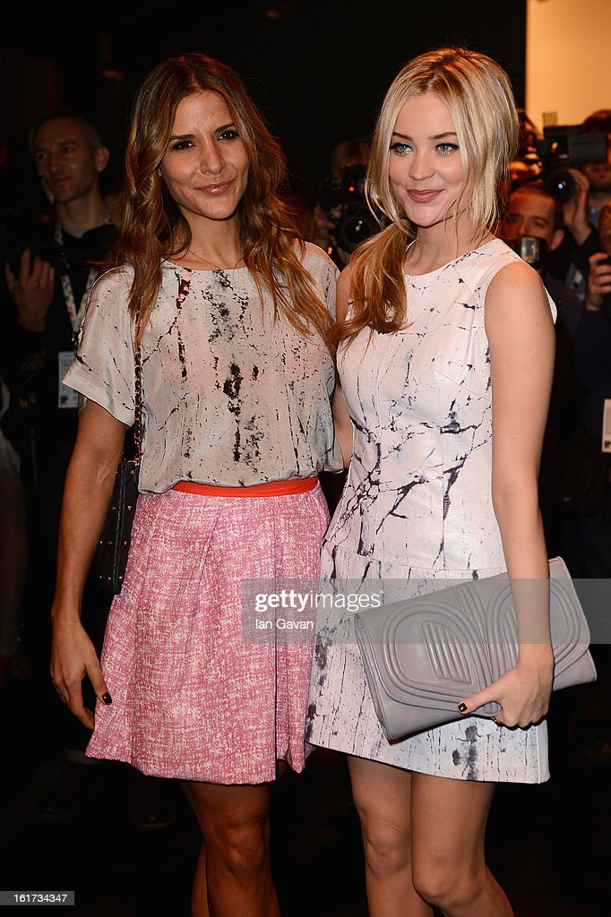 Amanda Byram (L) and Laura Whitmore attend the Zoe Jordan show during London Fashion Week Fall/Winter 2013/14 at Somerset House on February 15, 2013 in London, England.