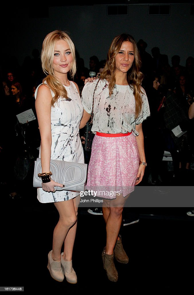 Amanda Byram and Laura Whitmore attend the Zoe Jordan show during London Fashion Week Fall/Winter 2013/14>> at Somerset House on February 15, 2013 in London, England.