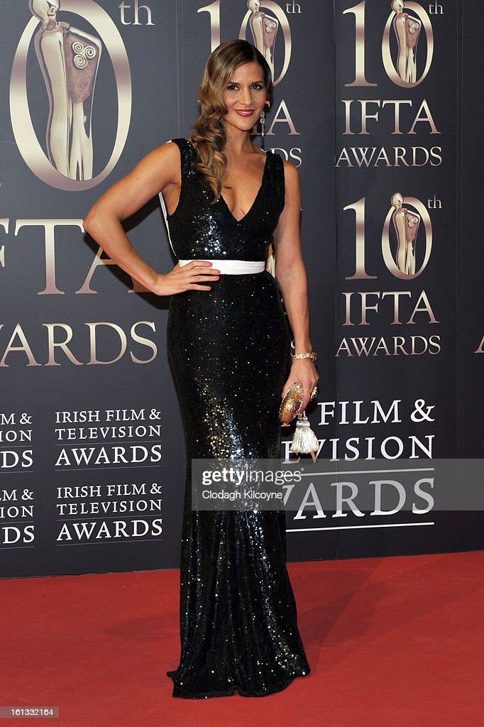 <a gi-track='captionPersonalityLinkClicked' href=/galleries/search?phrase=Amanda+Byram&family=editorial&specificpeople=661578 ng-click='$event.stopPropagation()'>Amanda Byram</a> attends the Irish Film and Television Awards at Convention Centre Dublin on February 9, 2013 in Dublin, Ireland.