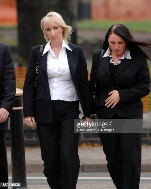 Amanda Carter is accompanied by her sister Tracey Cooper as she arrives at Stafford Crown Court for the trial of Mark Goldstraw