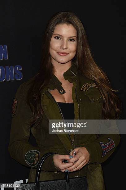 Amanda Cerny arrives at the premiere of Freestyle Releasing's 'Meet The Blacks' at ArcLight Hollywood on March 29 2016 in Hollywood California