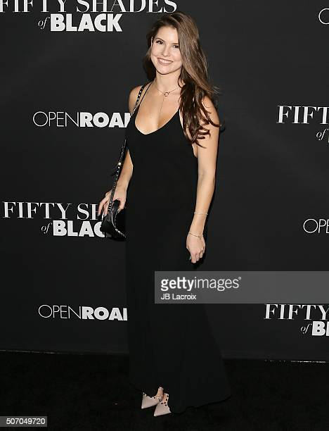 Amanda Cerny arrives for the premiere of Open Roads Films' 'Fifty Shades Of Black' held at Regal Cinemas LA Live on January 26 2016 in Los Angeles...