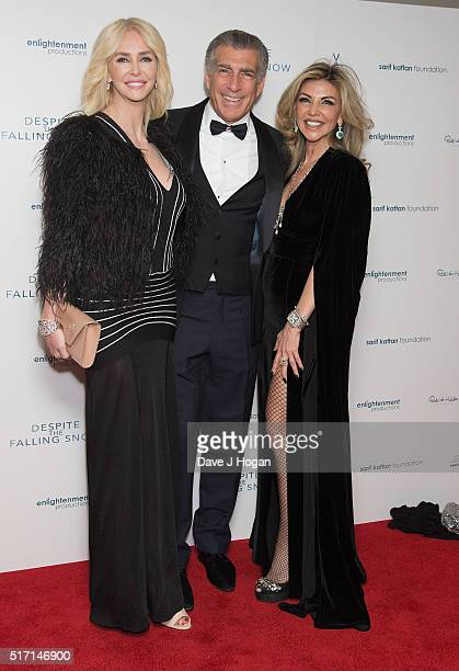 Amanda Cronin Steve Varsano and Lisa Tchenguiz attend a drink reception during a charity premiere of 'Despite The Falling Snow' at May Fair Hotel on...