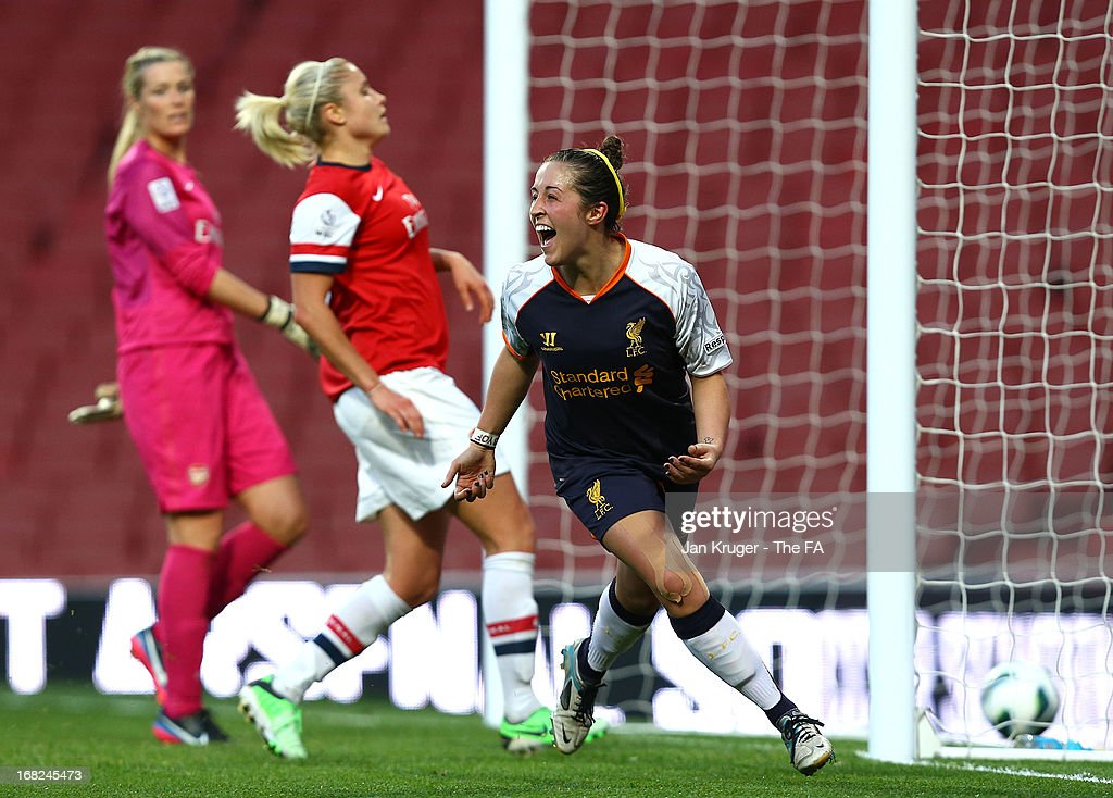 Amanda Da Costa of Liverpool Ladies celebrates her goal during the FA WSL Continental Cup match between Arsenal Ladies FC and Liverpool Ladies FC at Emirates Stadium on May 7, 2013 in London, England.