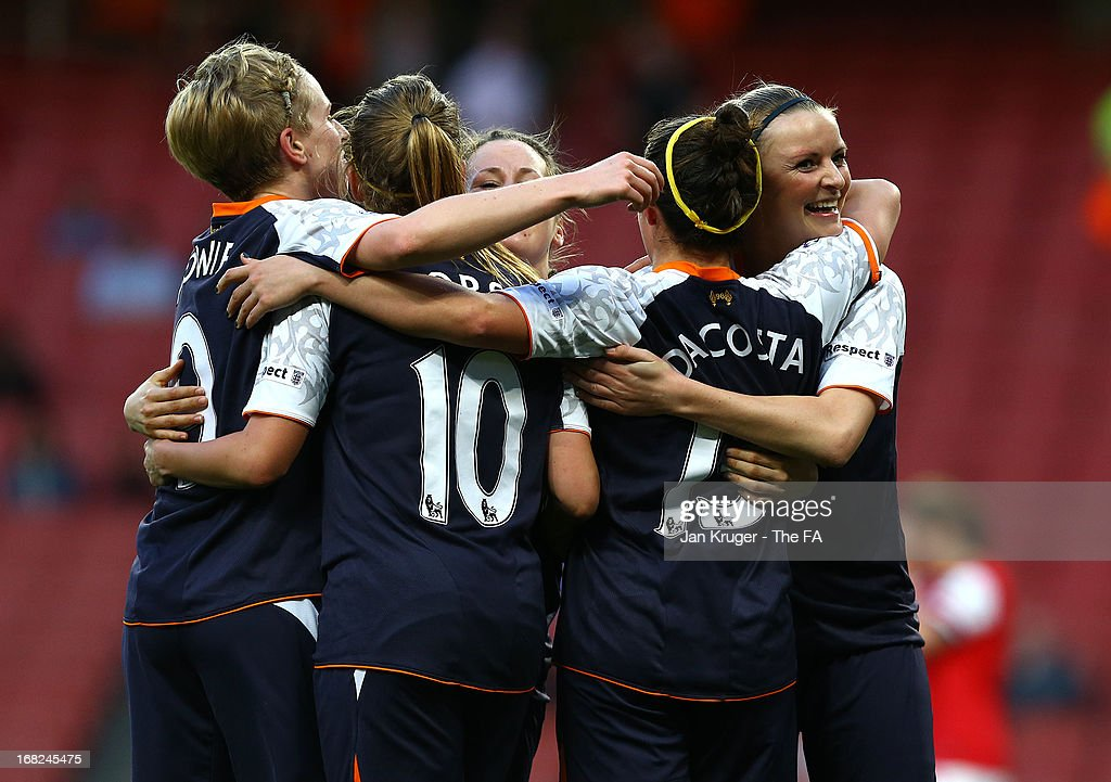Amanda Da Costa of Liverpool Ladies celebrates her goal with team mates during the FA WSL Continental Cup match between Arsenal Ladies FC and Liverpool Ladies FC at Emirates Stadium on May 7, 2013 in London, England.