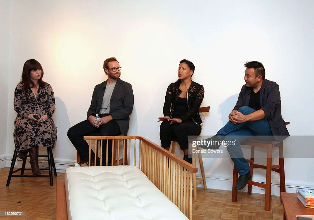 Amanda Dameron, Adam Rogers, Fahmida Lam and Willy Chan speak to guests during The CITY MODERN Presented By New York And Dwell Magazines Host The Apprentice: Furniture Making With Thos. Moser at Thos. Moser on October 2, 2013 in New York City.