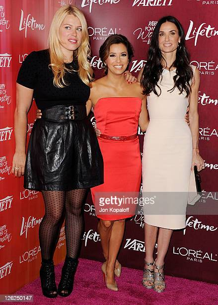 Amanda De Cadenet Eva Longoria and Demi Moore arrive at Variety's 3rd Annual Power Of Women Luncheon at the Beverly Wilshire Four Seasons Hotel on...