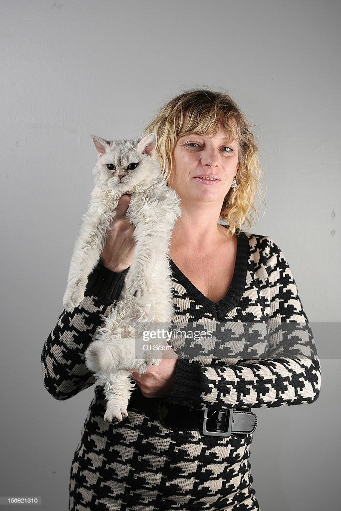 Amanda Derbyshire poses for a photograph with her Selkirk Rex kitten named 'Curly Wirly' after being exhibited at the Governing Council of the Cat Fancy's 'Supreme Championship Cat Show' held in the NEC on November 24, 2012 in Birmingham, England. The one-day Supreme Cat Show is one of the largest cat fancy competitions in Europe with over one thousand cats being exhibited. Exhibitors aim to have their cat named as the show's 'Supreme Exhibit' from the winners of the individual categories of: Persian, Semi-Longhair, British, Foreign, Burmese, Oriental, Siamese.
