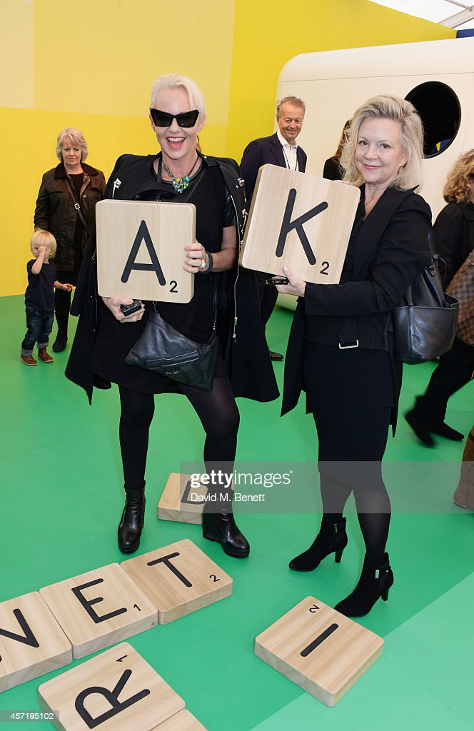 Amanda Eliasch and Kay Saatchi attend VIP Preview of the Frieze Art Fair 2014 in Regent's Park on October 14 2014 in London England