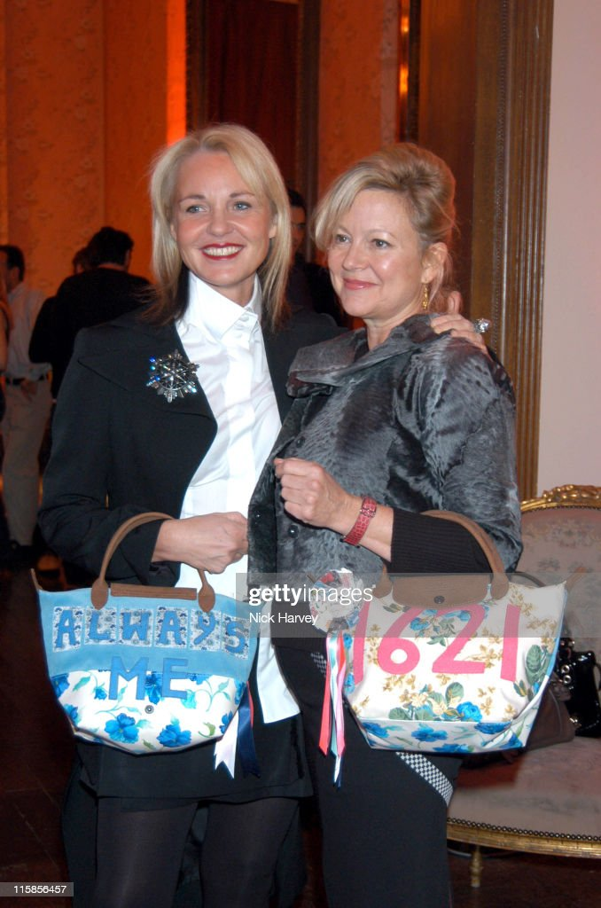 Amanda Eliasch and Kay Saatchi during Tracey Emin Longchamp Bag Launch at 33 Portland Place in London Great Britain