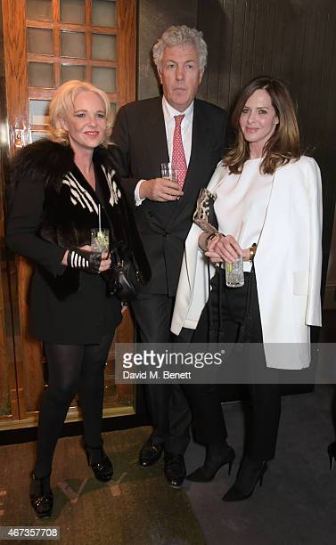 Amanda Eliasch Henry Wyndham Chairman of Sotheby's Europe and Trinny Woodall attend Sotheby's to preview iconic items from The Ivy restaurant that...