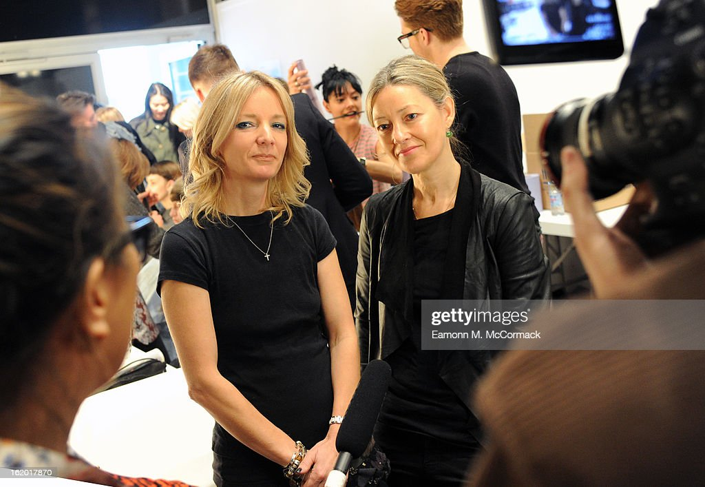 Amanda Fontanarrosa (L), CND Education Ambassador and Kate Shapland, beauty columnist are pictured after the Michael van der Ham show at London Fashion Week Autumn/Winter 2013, BFC Courtyard Showspace on February 18, 2013 in London, England.