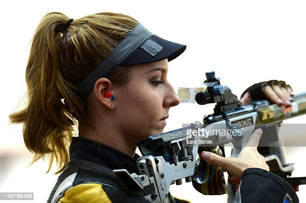 Amanda Furrer of the United States competes during Women's 50m Rifle 3 Positions Shooting Qualification on Day 8 of the London 2012 Olympic Game at...